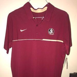 Nike FSU Short Sleeve Polo. Color Burgundy Tan
